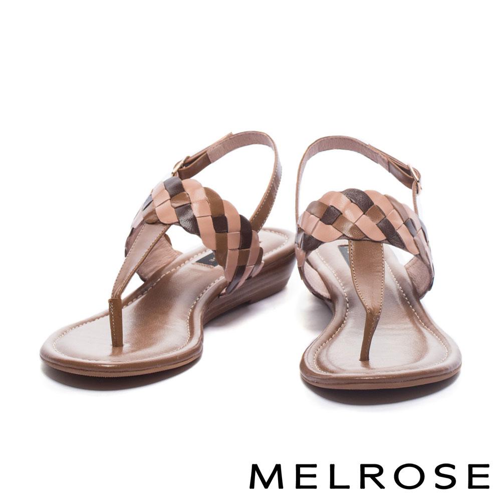 涼鞋 MELROSE 三色麻花造型T字羊皮楔型低跟涼鞋-咖
