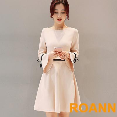 素面圓領喇叭袖A字裙洋裝-杏色-ROANN