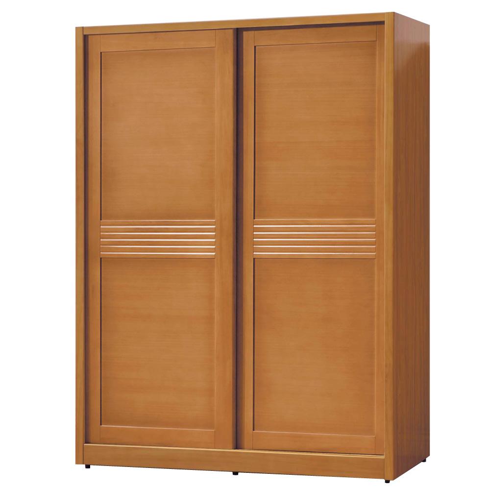 品家居 米蘭朵4.8尺柚木色推門衣櫃-144.8x60.5x197cm-免組