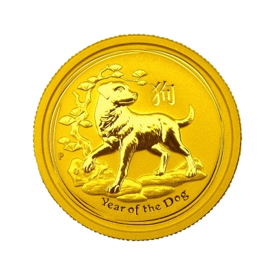 澳洲柏斯生肖紀念幣-澳洲2018狗年生肖金幣(1/20盎司)