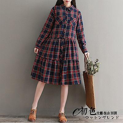 文藝格紋長袖連衣裙-紅黑格(M-2XL可選)    初色