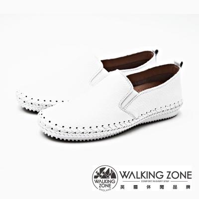 WALKING ZONE 極致舒適工藝車縫休閒 女鞋-經典白(另有經典黑)