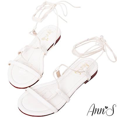 Ann'S腳部馬甲線-繫繩繞帶平底羅馬涼鞋-白