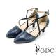 GDC-都會時尚鱷魚紋交叉雙繞側扣帶真皮尖頭低跟鞋-藍色 product thumbnail 1