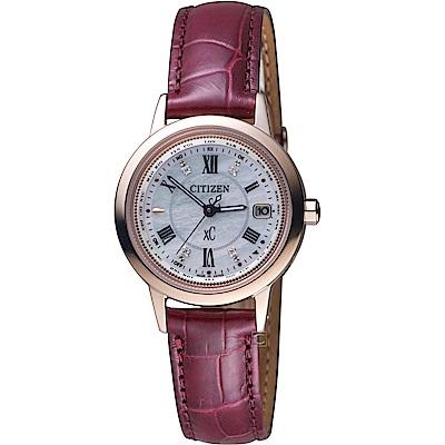 CITIZEN星辰xC粉樣櫻花鈦金屬電波限量腕錶(EC1144-00W)-27mm