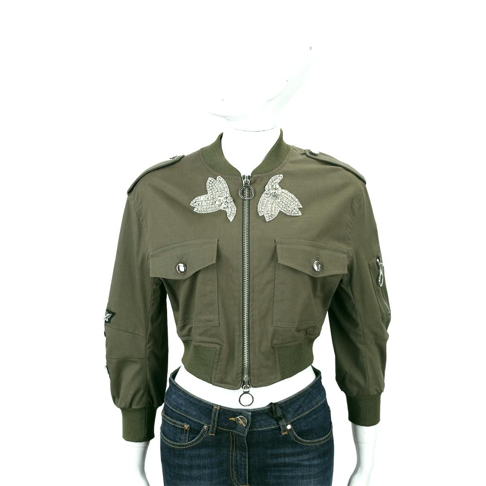 PINKO 軍綠色鑽珠補丁短版飛官夾克