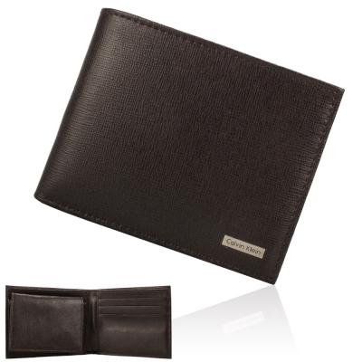 Calvin Klein 防刮皮革鐵牌LOGO證件短夾禮盒-咖啡色