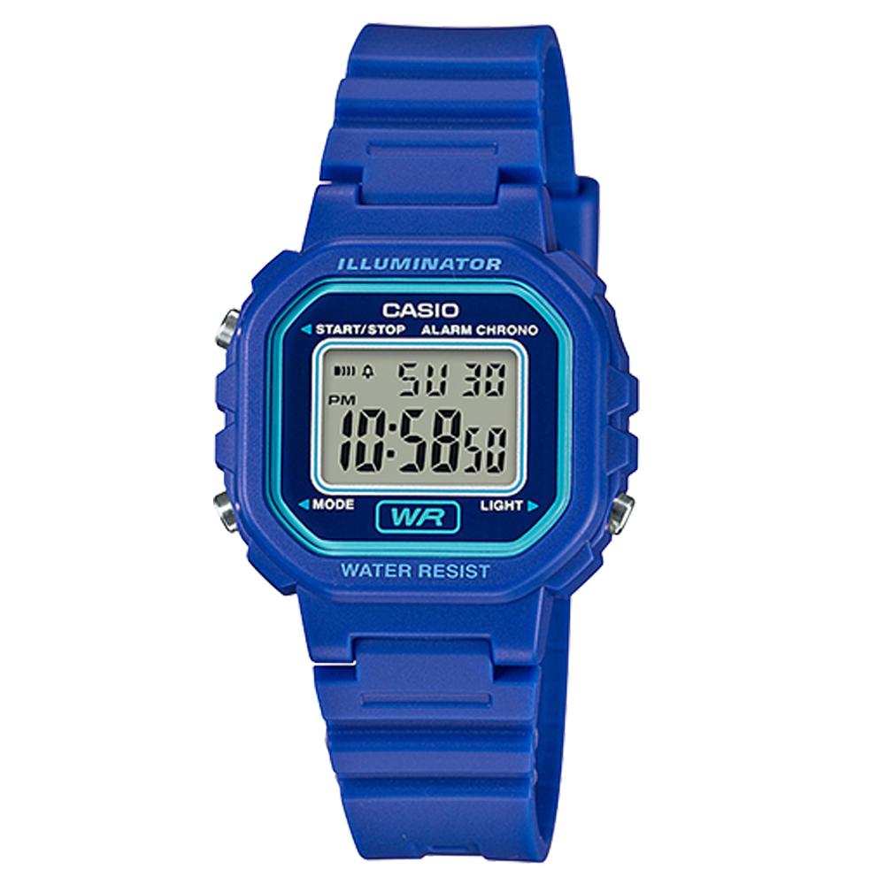 CASIO 黑色炫風方形電子錶(LA-20WH-2A)-亮藍色/30.4mm