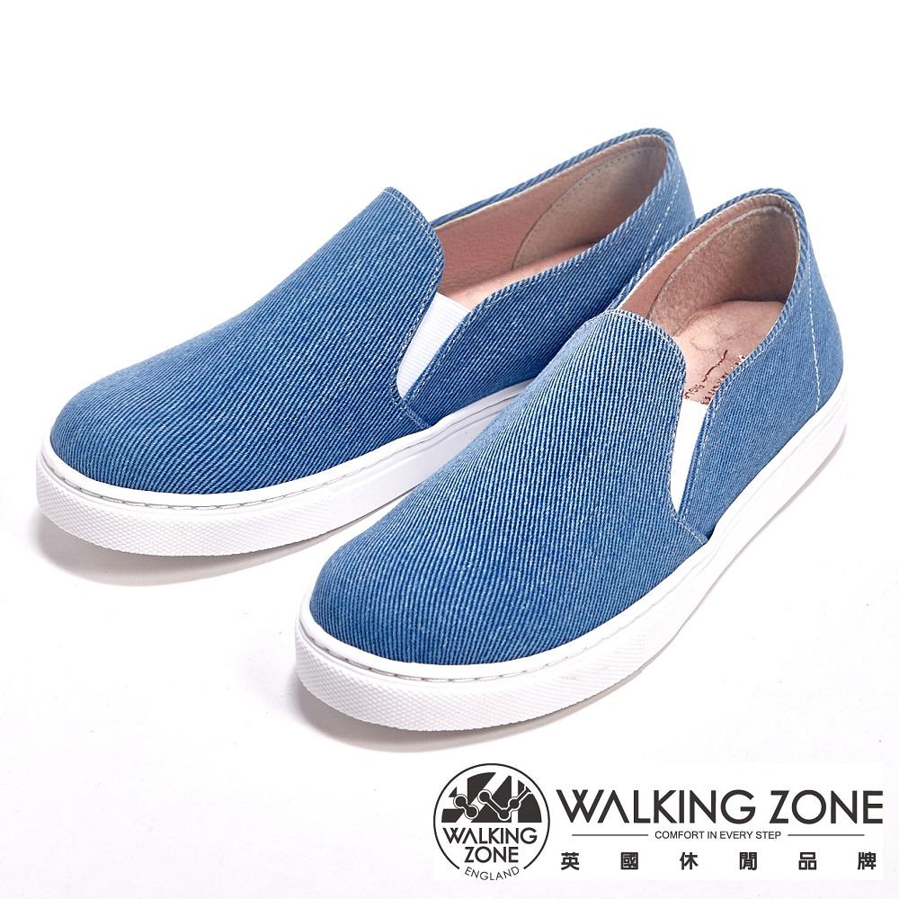 WALKING ZONE 輕便百撘直套平底休閒女鞋-藍