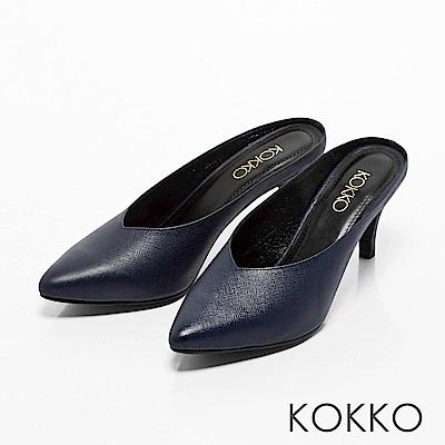 KOKKO -瀟灑隨性真皮高跟穆勒鞋-氣質藍