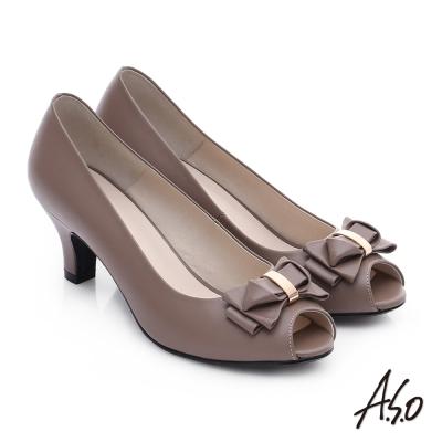 A.S.O 優雅美型 真皮甜美蝴蝶結魚口跟鞋 深卡其