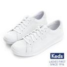 Keds 復古運動皮質綁帶休閒鞋(For Kids)-全白