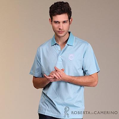 ROBERTA諾貝達 台灣製 吸濕排汗 運動涼感純色短袖POLO棉衫 藍色