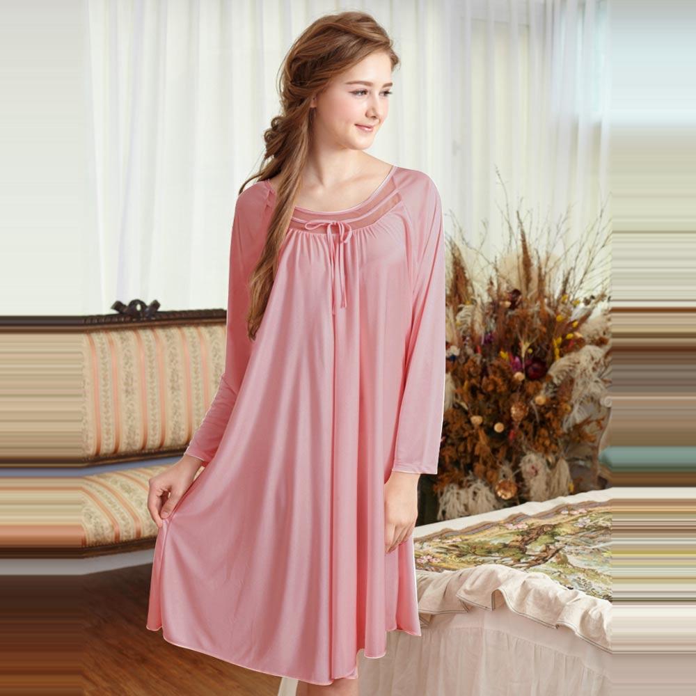 睡衣 彈性珍珠絲質 長袖連身睡衣(55203)豆沙粉-台灣製造 蕾妮塔塔
