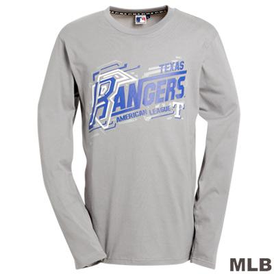 MLB-德州遊騎兵隊LOGO變形棉質T恤-灰(男)