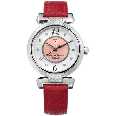 CHRISTIAN BERNARD 伯納錶 白剛玉真鑽珍珠母貝真皮手錶-銀粉x紅/32mm