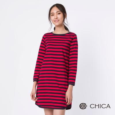 CHICA 翻轉日常俏皮條紋撞色休閒洋裝(2色)