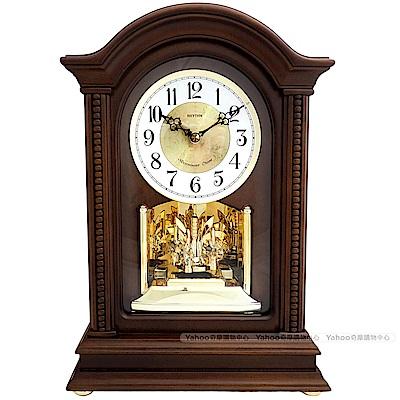 RHYTHM麗聲 奢華水晶擺錘報時實木座鐘/35cm