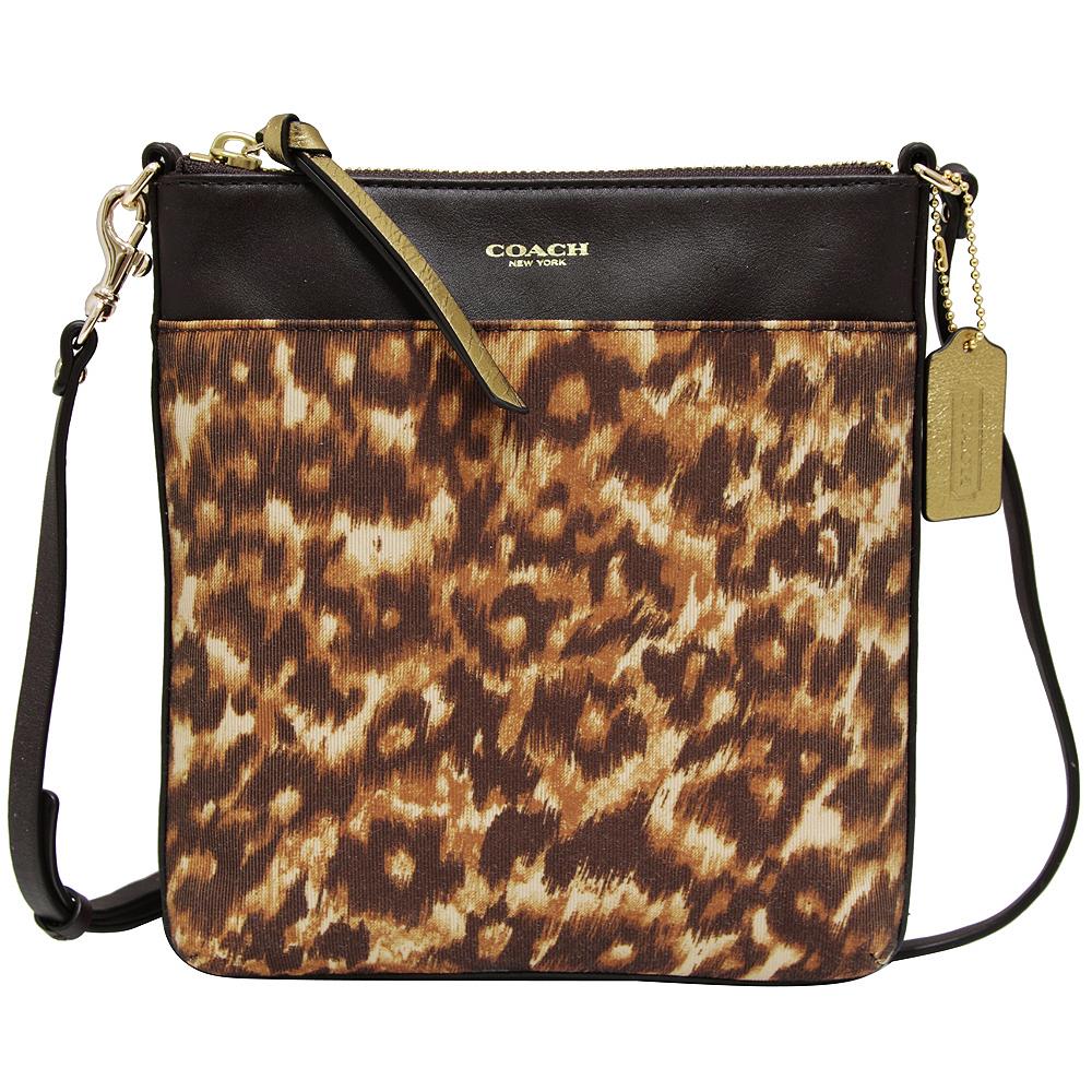 COACH豹紋織布皮革飾邊薄型斜背包