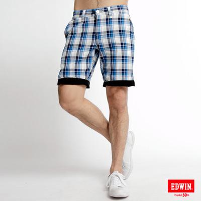 EDWIN休閒帥氣-時尚反褶格子短褲-男款藍格