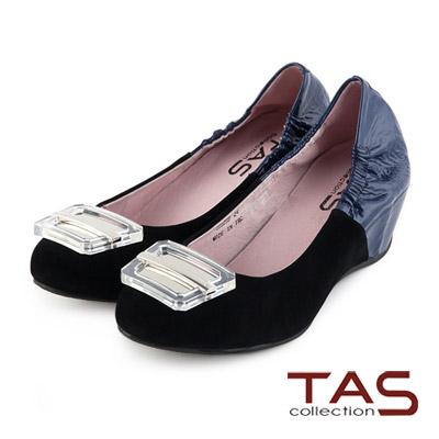 TAS-透明釦飾異材質配色拼接內增高娃娃鞋-名媛黑