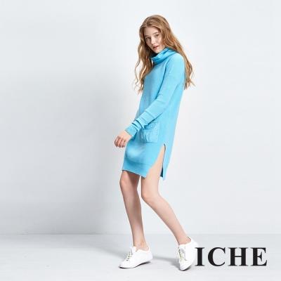 ICHE衣哲 高領亮片純色洋裝