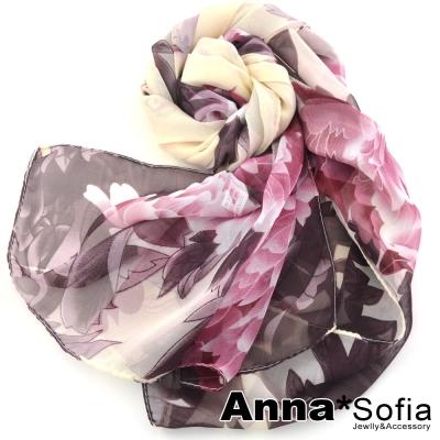 AnnaSofia-蝶舞牡丹-雪紡長絲巾-米紅系