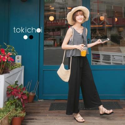 東京著衣 橫條紋撞色無袖連身褲-S.M(共二色)