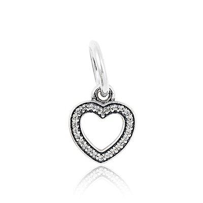 Pandora 潘朵拉 鑲鋯愛心 垂墜純銀墜飾 串珠