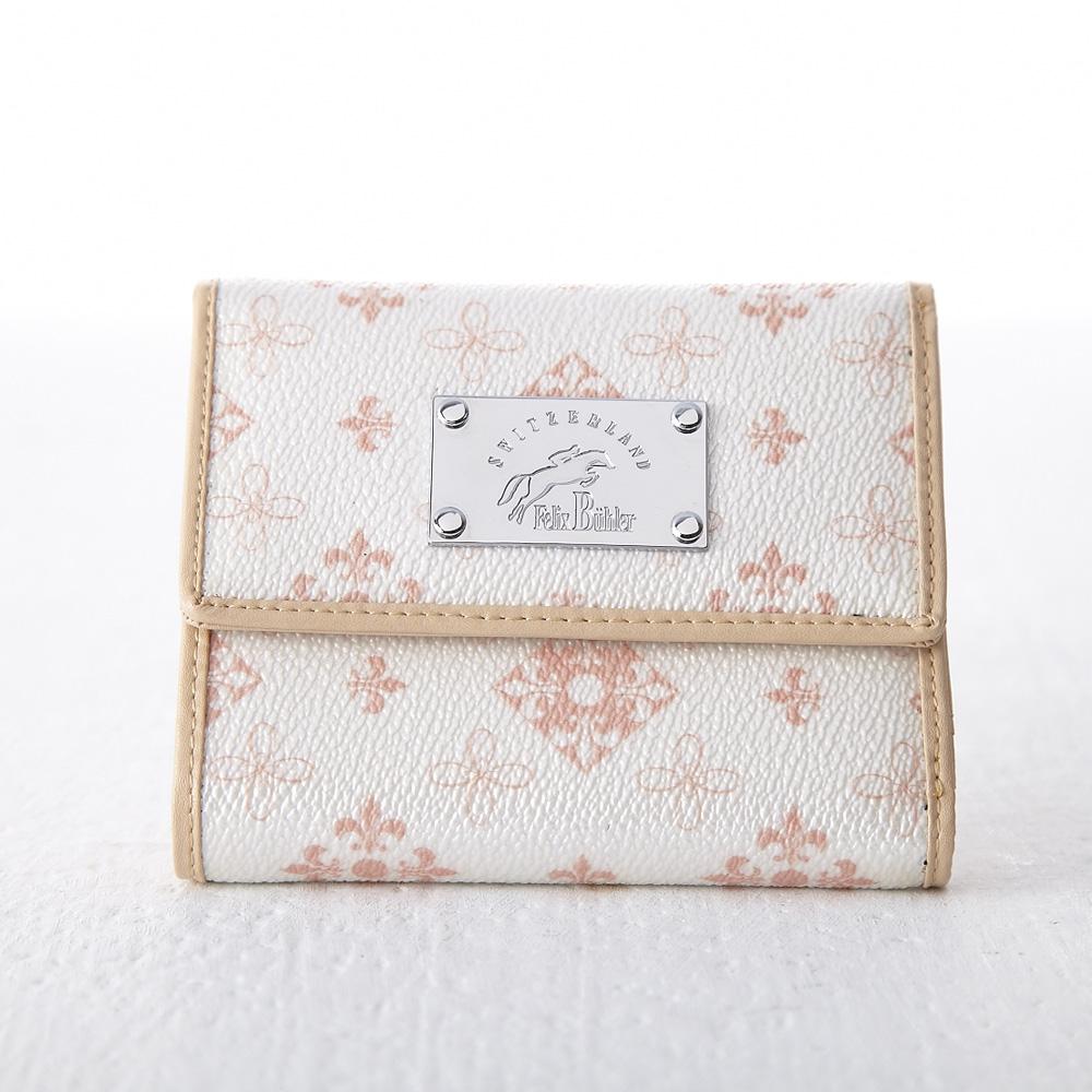 【Felix Buhler】貴婦最愛經典歐式提花三折式短夾-高貴珍珠白
