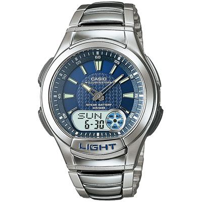 CASIO 超世代強光雙顯時區不繡鋼帶錶(AQ-180WD-2B)-藍色/41mm