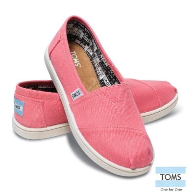 TOMS 經典帆布懶人鞋-孩童款(粉紅)
