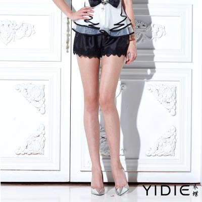 YIDIE衣蝶-俏麗蝴蝶結拉鍊蕾絲鬆緊短褲