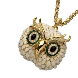 Kenneth Jay Lane 好萊塢巨星最愛 白色貓頭鷹項鍊 鑲K金寶藍琉璃眼睛