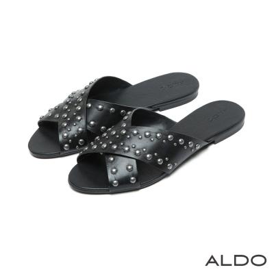 ALDO-原色交叉帶金屬鉚釘圓珠夾心涼鞋-尊爵黑色