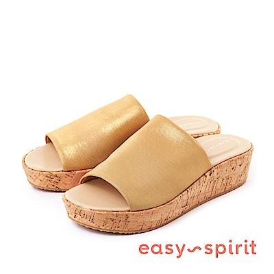 Easy Spirit--寬帶魚口厚底涼拖鞋-迷人金