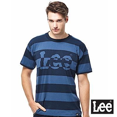 Lee 寬版條紋LOGO短袖圓領TEE男款-深藍色