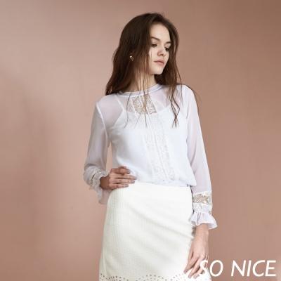 SO NICE優雅鏤空蕾絲上衣-動態show