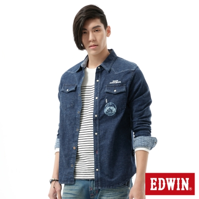 EDWIN-江戶勝-拼接設計和風襯衫-男-石洗藍