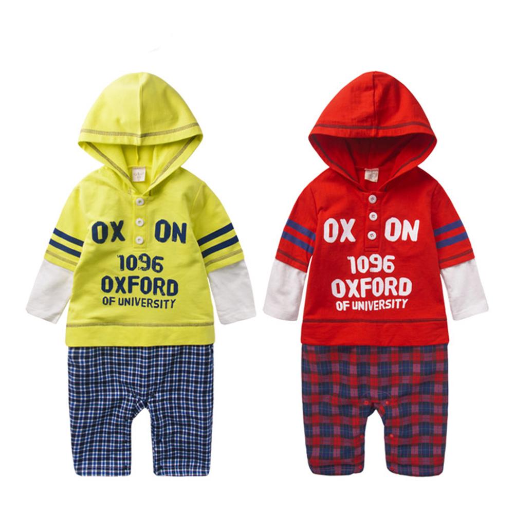 baby童衣 連身衣 美式印字拼接連帽爬服47079