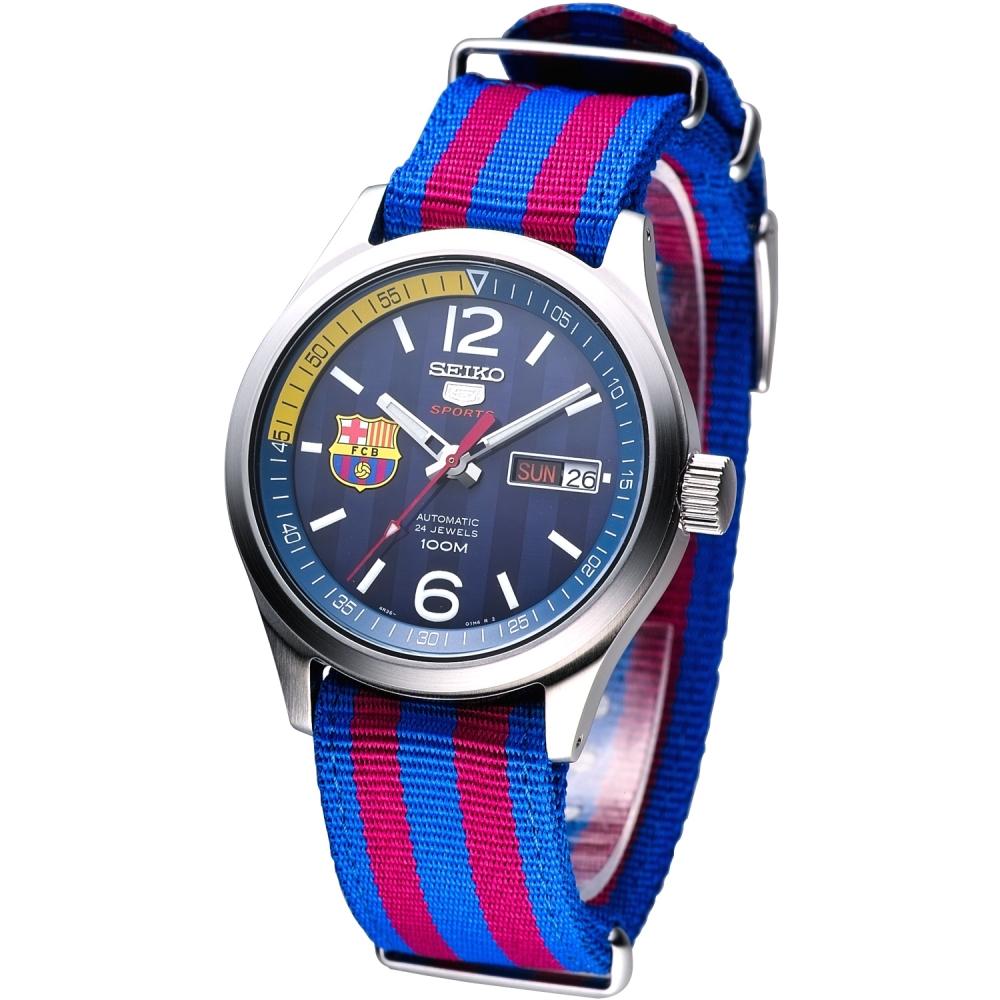 SEIKO FC 巴塞隆納盾牌5號機械腕錶(SRP303K1)-深藍面/39mm