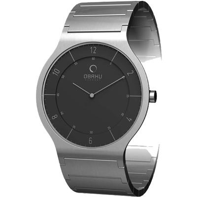 OBAKU 層次空間時尚簡約腕錶-黑/28mm