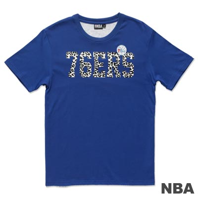 NBA-費城76人隊豹紋繡印短袖T恤-藍(男)