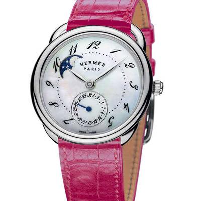 HERMES 愛馬仕 ARCEAU 系列珍珠面月相-粉紅鱷魚皮錶帶/38mm