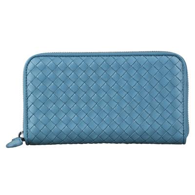 BV BOTTEGA VENETA 經典手工編織羊皮拉鍊長夾(孔雀藍)