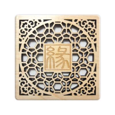 T-Collection - 古典花窗格 楓木 客製化 雕刻杯墊【緣】- 雙入