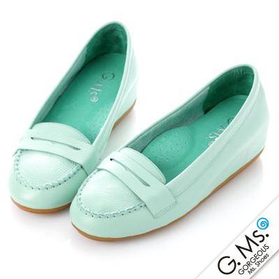 【G.Ms.】Q彈新主張‧簡約莫卡辛真皮內增高豆豆鞋‧薄荷綠