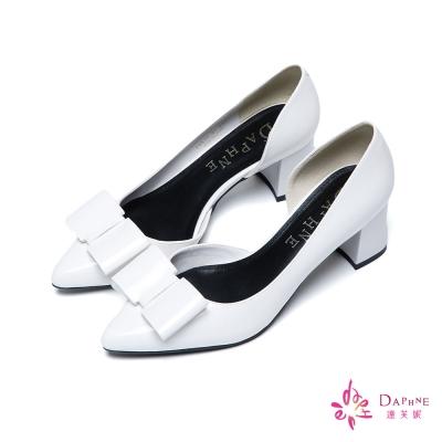 達芙妮DAPHNE 法式優雅立體蝴蝶結簡約側空粗跟鞋-氣質白