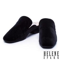 拖鞋 HELENE SPARK 質感絨布素面穆勒粗跟拖鞋-黑