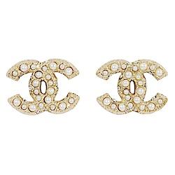 CHANEL 經典雙C LOGO 鑲嵌珍珠金色耳環